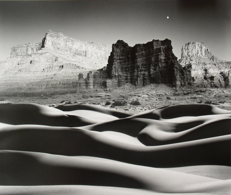 Moonrise Over Cliff and Dunes, 1976, 22 x 28 Inches, Silver Gelatin Photograph