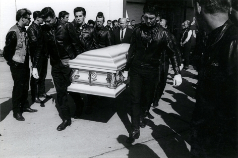 Copyright Danny Lyon / Magnum Photos, Jan's Funeral (Renegades), Detroit, from The Bikeriders, 1966