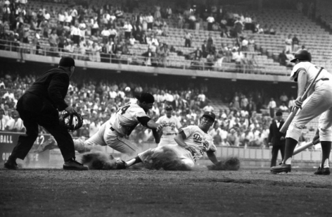 Maury Wills Sliding into Hom, Leo Durcoher (Background), LA Dodgers vs San Francisco Giants, NL Penant Tie-Breaker, Dodger Stadium, 1962, 16 X 20 inches, Ed. of 150