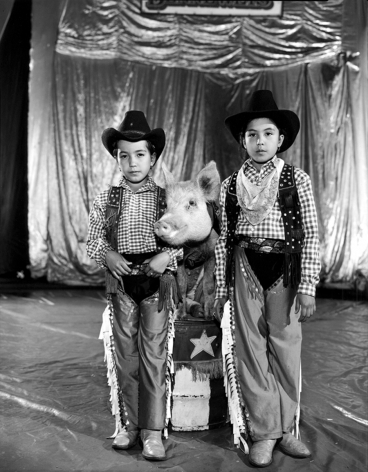 """Claudia and Maritza Safari with Babe the Performing Pig, """"Benneweiss Circus"""", Mexico City,1997, Silver Gelatin Photograph"""