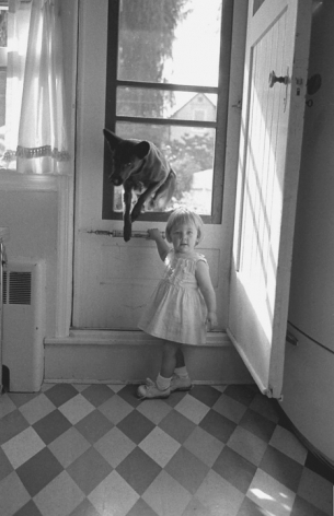 Blonde Girl & Black Dog, Queens, New York, 1962, Silver Gelatin Photograph