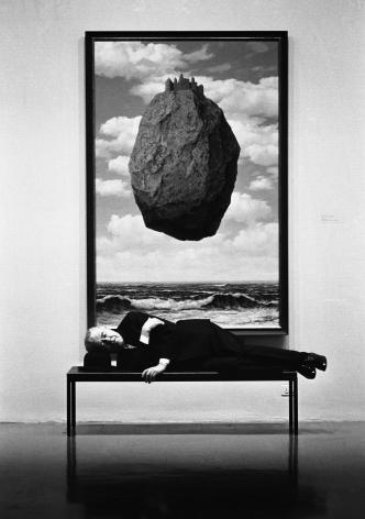 Rene Magritte, Asleep on Bench, MOMA, New York, 1965, Silver Gelatin Photograph