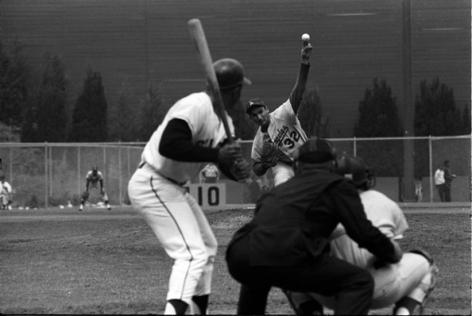 Sandy Koufax Pitching to Willie Mays, August, 1965, 16 x 20 Silver Gelatin Photograph, Ed. 150