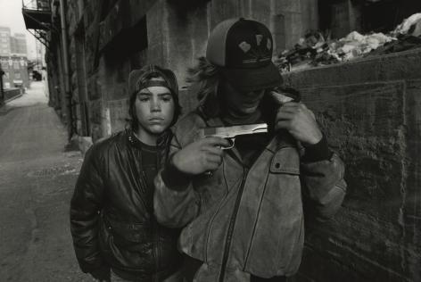 Rat and Mike with a gun. Seattle, Washington,1983, Silver Gelatin Photograph