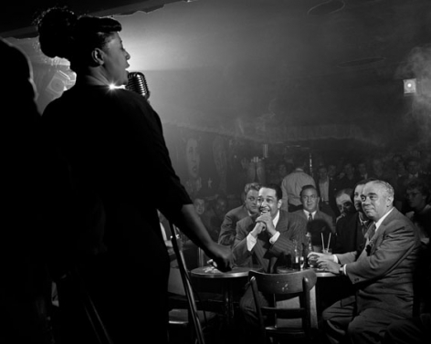 Ella Fitzgerald with Duke Ellington, Benny Goodman adn Richard Rodgers, Downbeat, New York City, 1949, 11 x 14 Silver Gelatin Photograph
