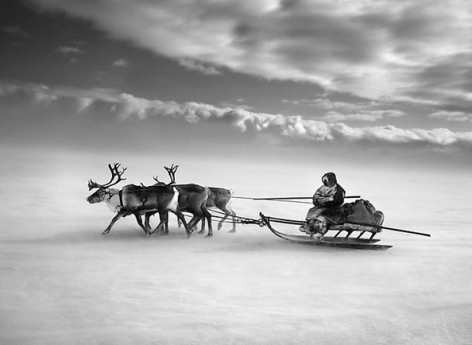 Nenets, an indigenous nomadic people, whose main subsistence come from reindeer herding, South Yamal region, Siberia, Russia 2011, 16 x 20 inches, Silver Gelatin Photograph