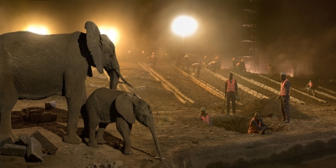 HIGHWAY CONSTRUCTION WITH ELEPHANTS & WORKERS (THE GRAVE), 2018,