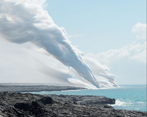 Stephen Johnson Volcanic Steam and Pacific Ocean, Volcanoes National Park, Hawaii, 1996