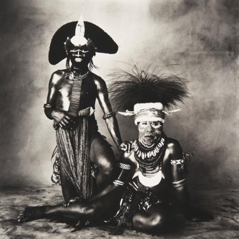 New Guinea Man and Sitting Woman, New Guinea, 1970, Platinum Palladium Photograph, Ed. of 8