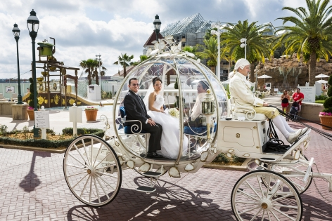 Christina, 21, en route to her wedding in Cinderella's glass coach, Walt Disney World, Orlando, Florida, 2013    , 20 x 30 inch - Archival Pigment Print - Ed. of 5