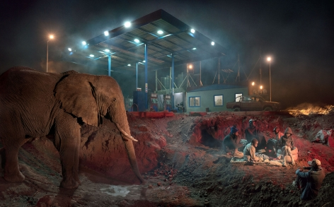PETROL STATION WITH ELEPHANT & KIDS, 2018,