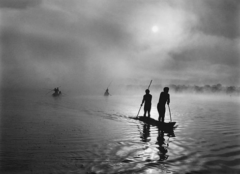Fishing in the Piulaga Laguna during the Kuarup ceremony of the Waura Group, Upper Xingu Basin, Mato Grosso, Brazil 2005, 16 x 20 inches, Silver Gelatin Photograph