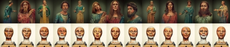 """Da Vinci, The Last Supper, Portraits and Pageant Makeup Templates,2016, Horizontal Grouping, 354.25"""" x 75.5"""""""