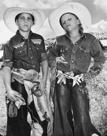 Craig Scamardo and Cheyloh Mather, Young Bull Riders, Boerne Rodeo, Texas, 1991, Silver Gelatin Photograph