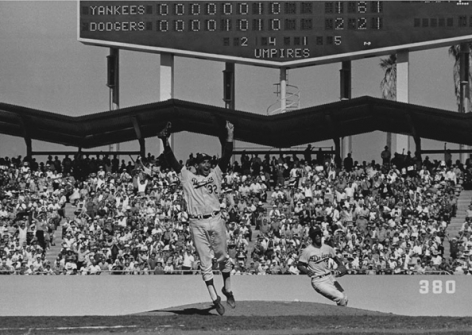 Sandy Koufax, Maury Wills Celebrating at the 1963 World Series Final Game, Yankees vs. Dodgers, 1963, 16 x 20 Silver Gelatin Photograph, Ed. 150