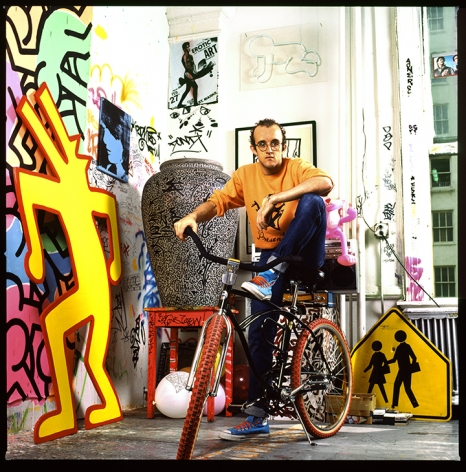 Keith Haring on Bike, NYC, (Color), 1985, 20 x 16inches - Archival Pigment Print - Edition of 50