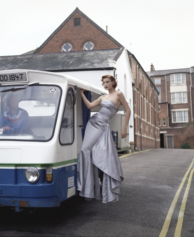 Model on Milk Lorry, England, 1995, Archival Pigment Print