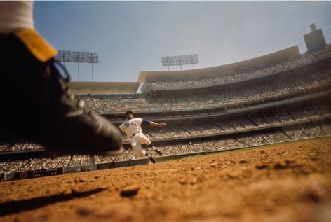 Willie Davis, Shot From Remote Camera, 2nd Base, LA Dodgers vs Philadelphia Phillies, Dodger Stadium, 1965, 20 X 24 inches, Open Edition