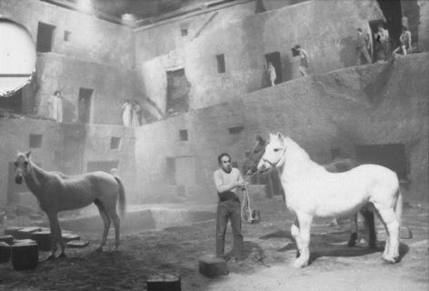 Horses on set of Satyricon, Rome, Italy,1969, Silver Gelatin Photograph