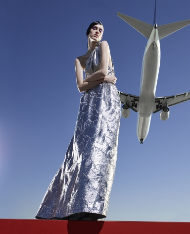 Fashion (with Silver Dress and Plane), Los Angeles, 2016, 50 x 32 1/2 Inches, Archival Pigment Print, Edition of 5