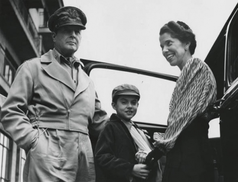 Gen. Douglas MacArthur with Son and Wife, c. 1940's, 11 x 14 Silver Gelatin Photograph