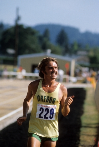 Steve Prefontaine (229) US Olympic Trials, 5000 Meter race, Hayward Field, Eugene, Oregon, 1972, Color Photograph