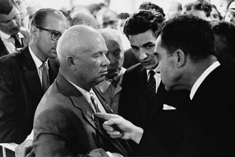 Nikita Khrushchev and Richard Nixon, Moscow, USSR, 1959, 16 x 20 Silver Gelatin Photograph