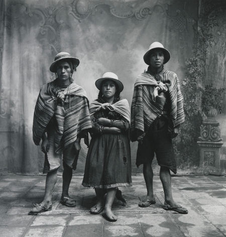 Two Men and a Woman (Neg. 1401), Cuzco, 1948, Vintage Silver Gelatin Photograph, Ed. of 7