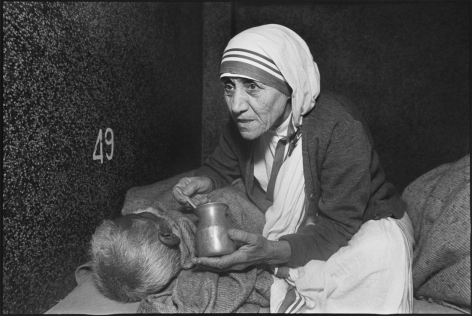 Mother Teresa at the Home for the Dying, Mother Teresa's Missions of Charity, Calcutta, India, 1980, Silver Gelatin Photograph