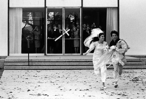"""Bob Willoughby Katharine Ross & Dustin Hoffman, running from the church at the end of """"The Graduate"""", Paramount Studios (REF # A070), 1967"""