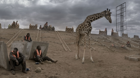 HIGHWAY CONSTRUCTION WITH GIRAFFE & WORKERS, 2018,