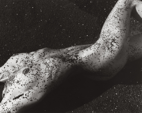 Female Figure in Black Sand, Hawaii (f), 1988, 11 x 14 Inches, Silver Gelatin Photograph, Edition of 4