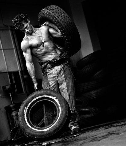 Fred with Tires VI, Hollywood, 1984, 14 x 11 Inches, Silver Gelatin Photograph, Edition of 25