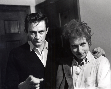 Dylan with Johnny Cash Backstage, NJ, 1965, Silver Gelatin Photograph