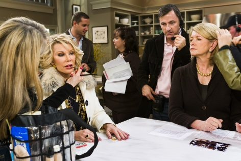 "Comedian Joan Rivers, 72, and lifestyle guru Martha Stewart, 64, on the set of ""Martha,"" New York City, 2005"