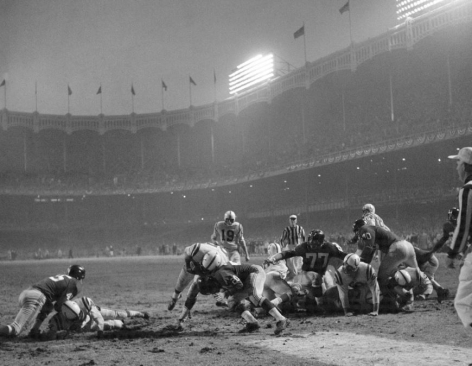 Alan Ameche Scoring Winning Touchdown vs Giants in Sudden Death Overtime, NFL Championship Game, Yankee Stadium, 1958, Silver Gelatin Photograph
