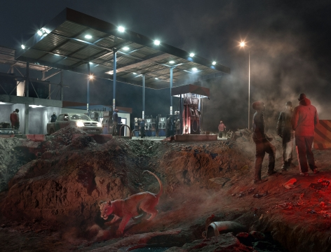 PETROL STATION WITH LIONESS, 2018,
