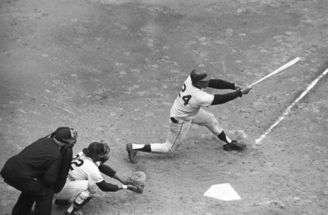Willie Mays, San Francisco Giants swinging against the New York Yankees, Game 4, World Series, Yankee Stadium, The Bronx, 1962, Silver Gelatin Photograph