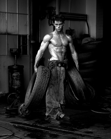 Fred with Tires, Hollywood, 1984, 24 x 20 Inches, Silver Gelatin Photograph, Edition of 30