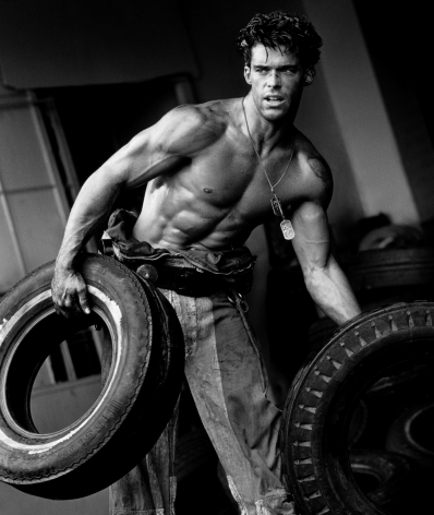 Fred with Tires VIII, Hollywood, 1984, 14 x 11 Inches, Silver Gelatin Photograph, Edition of 25