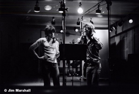 Keith Richards and Mick Jagger Recording, Los Angeles, 1972, 11 x 14 Silver Gelatin Photograph