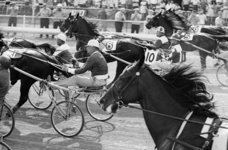 Hambletonian Harness Race, DuQuoin State Fairgrounds, IL, 1961, Silver Gelatin Photograph