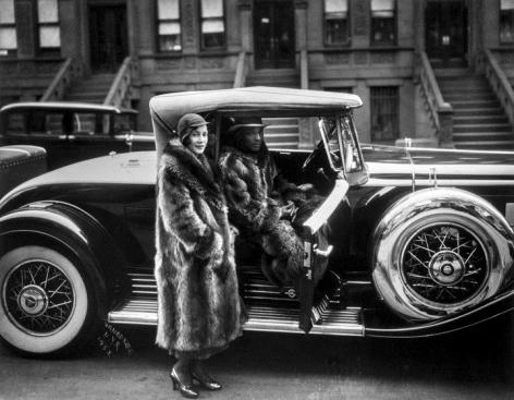 James Van der Zee, Couple in Racoon Roats, 1932