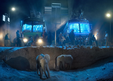 BUS STATION WITH YOUNG ELEPHANTS, 2018,