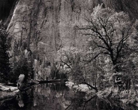 Ansel Adams, Merced River, Cliff, Autumn, Yosemite Valley, 1939
