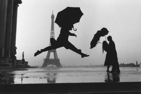 Paris (Three People and Umbrellas), France, 1989, 16 x 20 Silver Gelatin Photograph