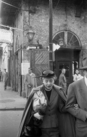 Elegant Woman, Bourbon Street, 1955, Silver Gelatin Photograph