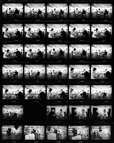 Julian Wasser Marcel Duchamp Playing Chess with a Nude Eve Babitz (Contact Sheet), 1963