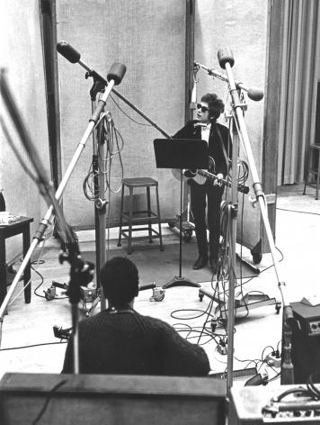 """Bob Dylan recording """"Bringing It All Back Home,"""" NYC, 1965, Silver Gelatin Photograph"""