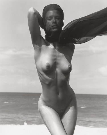Female Figure with Veil 1, Hawaii, 1989, 14 x 11 Inches, Silver Gelatin Photograph, Edition of 4